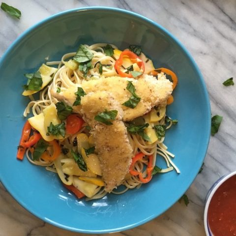 Breaded Chicken Fingers Pasta Bowl Recipe