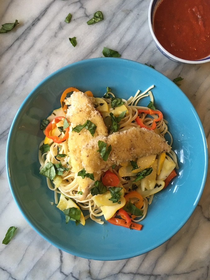 Breaded Chicken Fingers Pasta Bowl | flavorpalooza.com