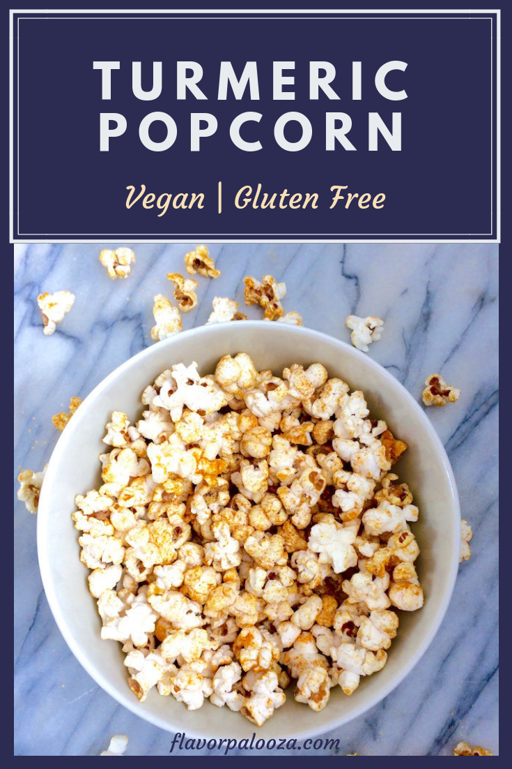 A healthy turmeric popcorn recipe that's superfood-ified and full of flavor. Great for healthy snacking. #vegan #glutenfree #healthysnack #turmeric #popcornrecipe | flavorpalooza.com.