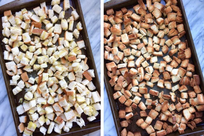 These homemade croutons are great for adding to salads, soups, or for grinding up to make your own breadcrumbs. #allergyfriendly #vegan | flavorpalooza.com