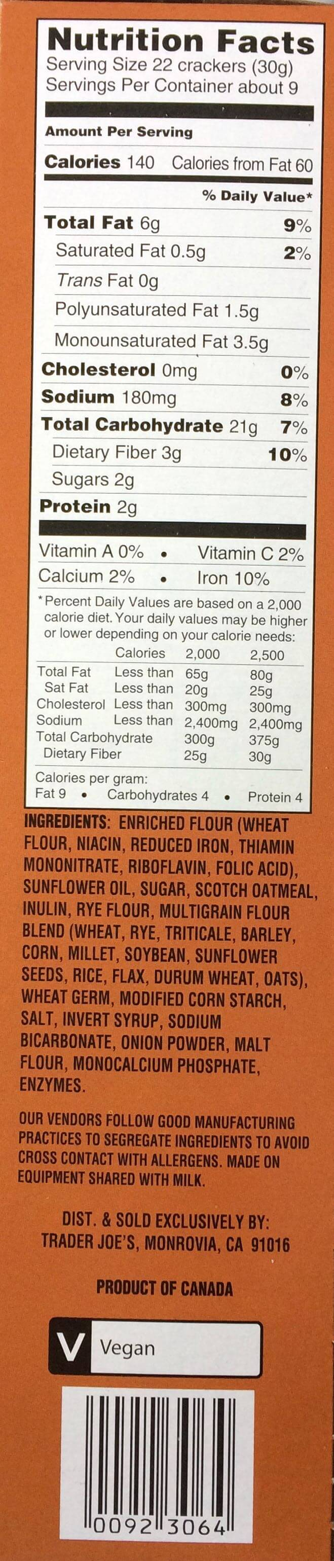 Trader Joe's 12 Grain Mini Snack Crackers Nutrition Label