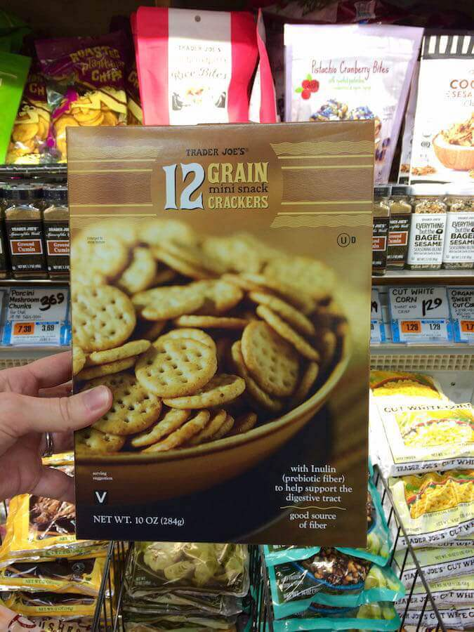 Trader Joe's 12 Grain Mini Snack Crackers are peanut free and tree nut free. Check out our lists of other nut free snacks! #peanutfree #treenutfree #nutfree #schoolsafesnacks | flavorpalooza.com