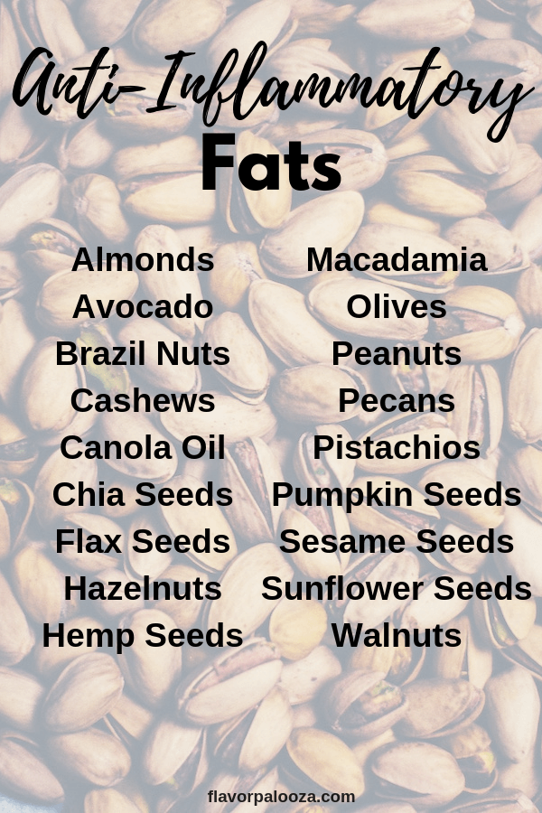 On an anti-inflammatory diet? Here's a complete list of anti-inflammatory fats to choose from.