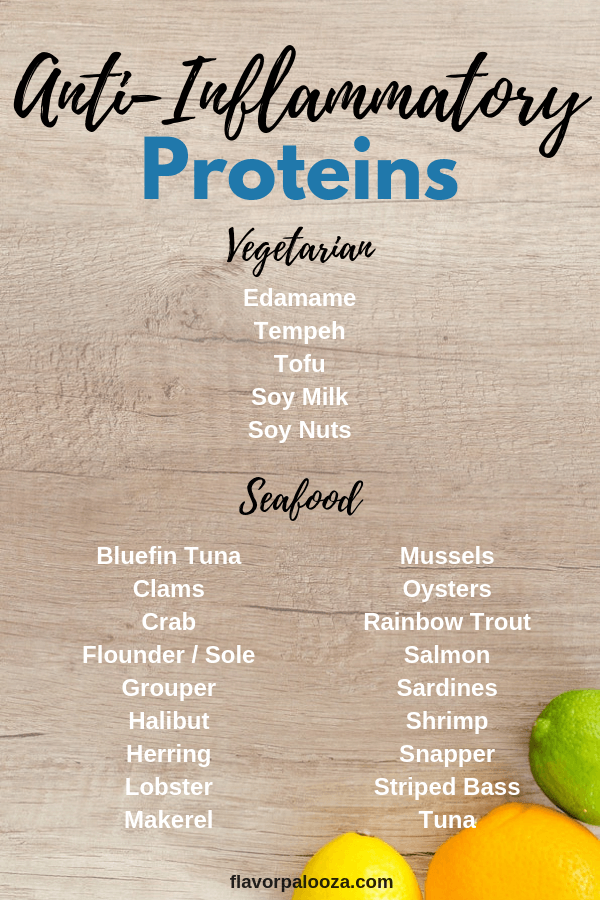 On an anti-inflammatory diet? Here's a complete list of anti-inflammatory proteins to choose from.