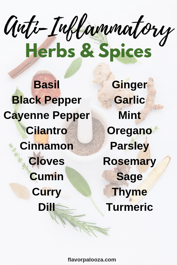 On an anti-inflammatory diet? Here's a complete list of anti-inflammatory spices and herbs to choose from.