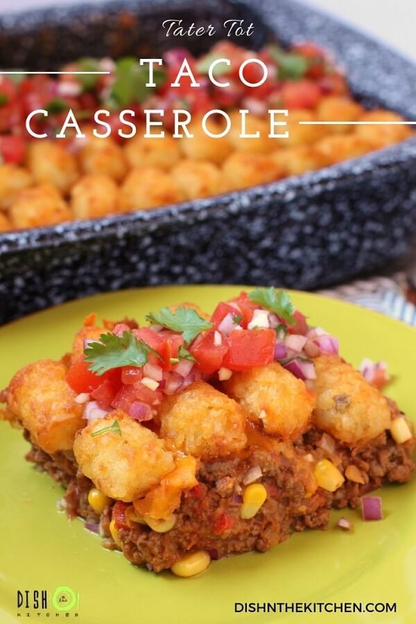 Made with seasoned ground beef, refried beans and veggies. Topped with everyone's favorite golden tots and a zesty pico de gallo, this casserole brings all the kids (young and old) to the table.