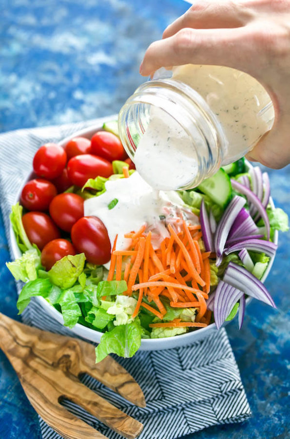 Ditch the sketchy processed bottled dressing and whip up this super quick, super easy, homemade keto ranch dressing (paleo, Whole30)!