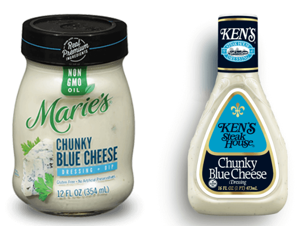 Product photos of Marie's Chunky Blue Cheese and Ken's Steakhouse Chunky Blue Cheese salad dressings (keto friendly)