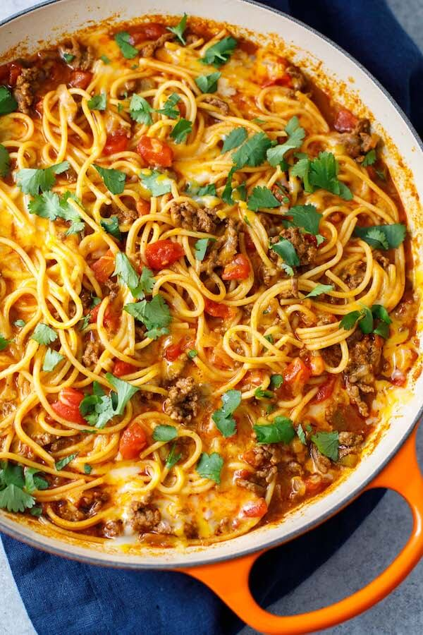 This tasty taco spaghetti is a wonderful dinner idea for busy families. You're going to love this spin on traditional spaghetti!
