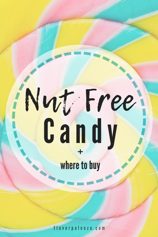 A close-up of a brightly colored lollipop with text overlay: Nut Free Candy + Where to Buy