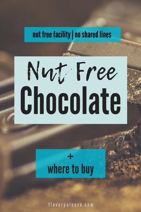 A close-up of a chocolate bar with text overlay: Nut Free Chocolate + Where to Buy