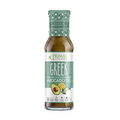 Primal Kitchen's Greek salad dressing is keto-friendly with less than 1g of carbs per serving.