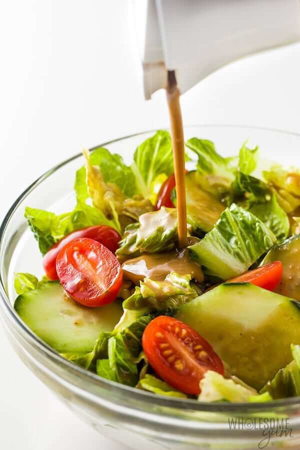 An easy, creamy balsamic keto salad dressing recipe - versatile for so many salads. Creamy balsamic vinaigrette needs just 5 ingredients and takes 5 minutes