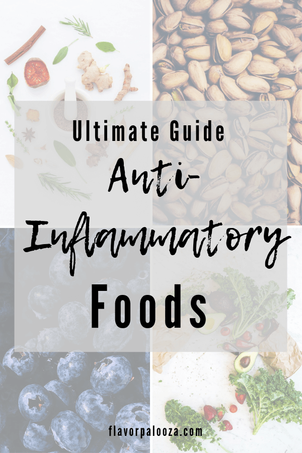 A collage of four photos depicting four different food groups with text overlay that says Complete Guide to Anti-Inflammatory Foods.