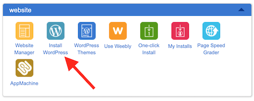 Inside the Bluehost dashboard, with an arrow pointing to the Install WordPress icon.