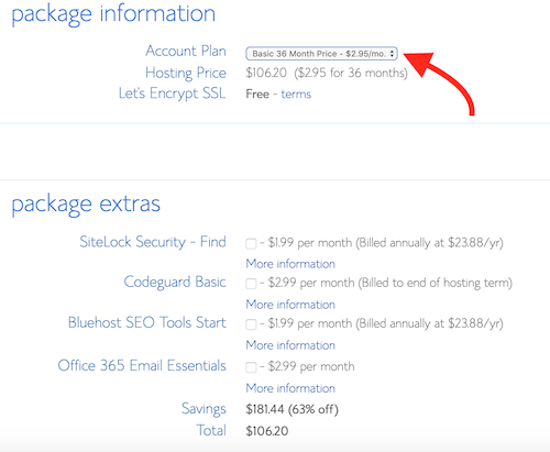 Bluehost package purchase screen, with 36-month package selected to lock in the $2.95 per month price.