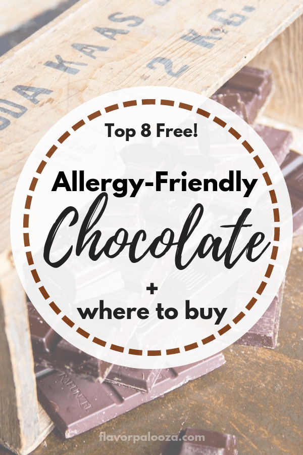 A complete, up-to-date list of Top 8 free, allergy-friendly chocolate brands + where to buy! #top8free #chocolate | flavorpalooza.com