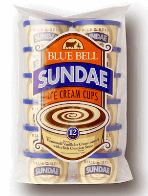 A package of 12 Blue Bell ice cream snack cups, sundae flavor.
