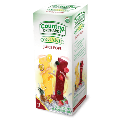 A box of Country Orchard Organic Juice Pops.