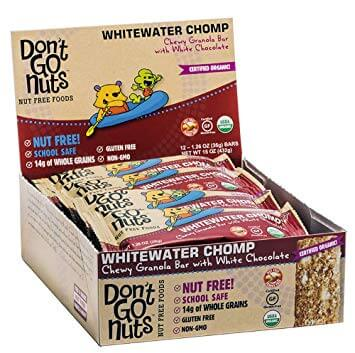 A box of Don't Go Nuts brand energy bars in the Whitewater Chomp flavor, a healthy nut free snack.
