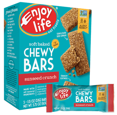 A box of Enjoy Life brand Chewy Bars in sunseed crunch flavor.