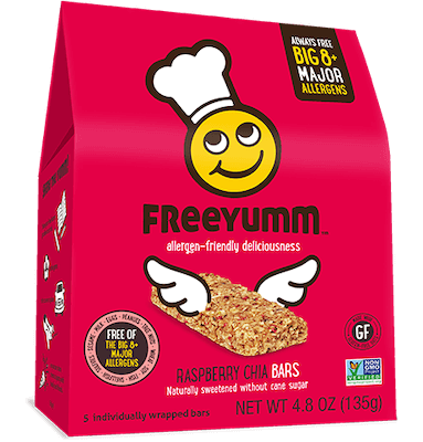 A bag of FreeYumm brand raspberry chia bars.