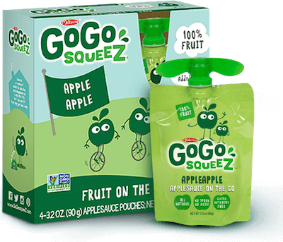 A box and a pouch of GoGo Squeez brand applesauce, a healthy, nut free snack.