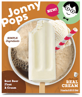A box of JonnyPops popsicles, Root Beer Float and Cream flavor.