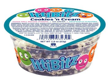 A cup of cookies and cream flavored IttiBitz from Kemps.
