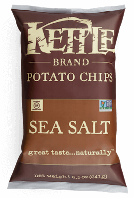 A bag of Kettle Brand chips, original sea salt flavor.