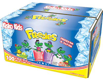 A box of Kisko Kids Freezies.
