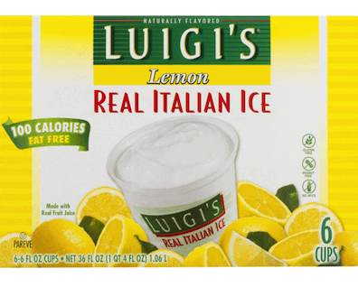 A box of Luigi's Real Italian Ice cups, lemon flavored.