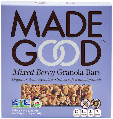 A box of Made Good nut free granola bars, mixed berry flavor.