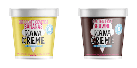 Two pints of Nana Creme Frozen Desserts.