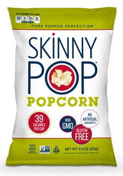 A bag of Skinny Pop Popcorn.