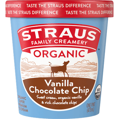 A pint of Straus Family Creamery organic vanilla chocolate chip ice cream.