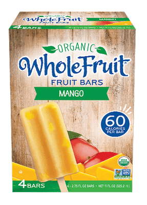 A box of Organic Whole Fruit fruit bars, in mango flavor.