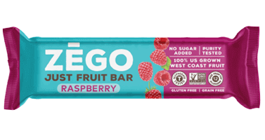 A single Zego brand just fruit bar, raspberry flavor.