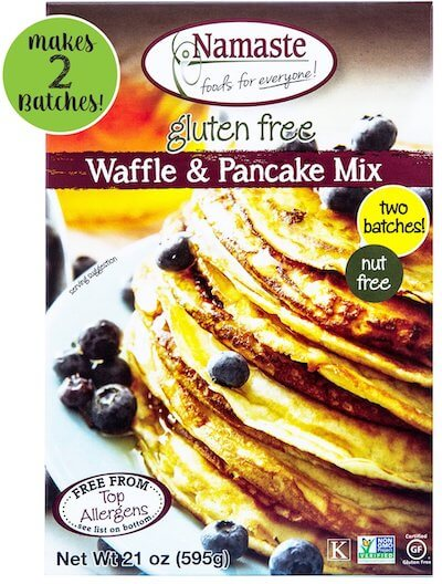 A product package for Namaste Foods Gluten Free Waffle and Pancake Mix.