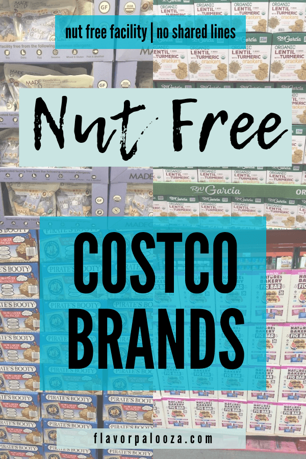 Collage of nut free Costco brands with text overlay: nut free facility and no shared lines.