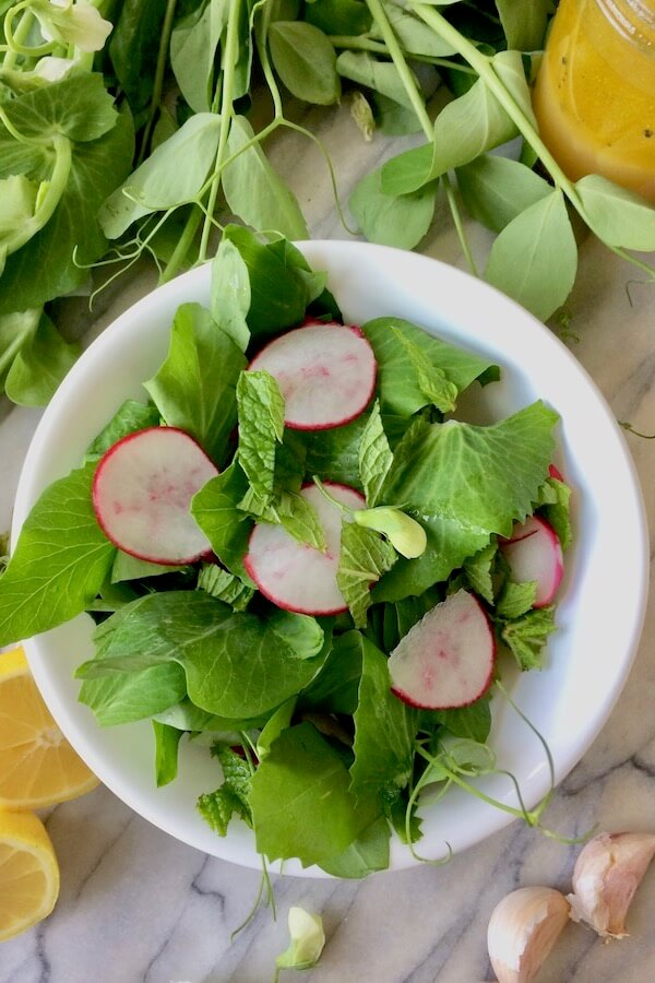 A bowl of pea shoot salad, with mint and radishes.