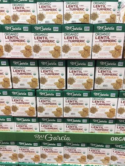 Boxes of RW Garcia Organic Lentil Turmeric Crackers at Costco