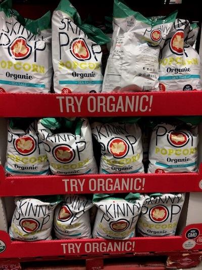 Big bags of Skinny Pop Popcorn at Costco.