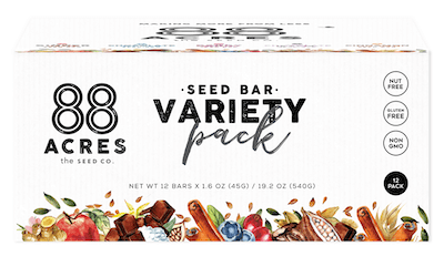 A variety pack of 88 Acres nut free protein bars.