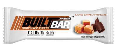 A chocolate flavored Built Bar nut free protein bar.