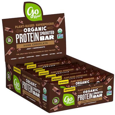 A box of Go Raw nut free protein bars.
