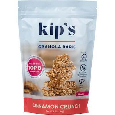 A bag of Kip's Granola Bark, cinnamon crunch flavor.