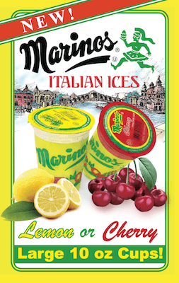 A box of Marino's Italian ice cups.