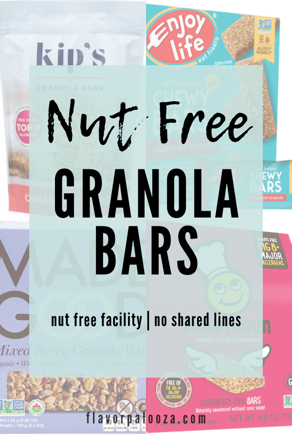 Collage of nut free granola bars with text overlay: nut free facility, no shared lines.