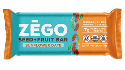 Sunflower Date flavor of ZEGO's nut free protein bars.